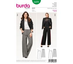 Střih Burda 6470 - Kalhoty se širokými nohavicemi Marlene