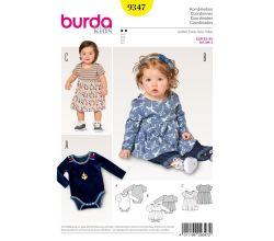 Strih Burda 9347 - Detské Bodýčko, Bodýčko so sukňou