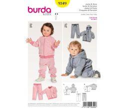 Strih Burda 9349 - Detská tepláková súprava, mikina s kapucňou, tepláky