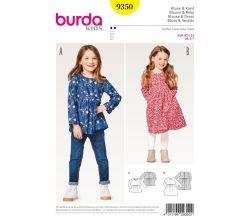 Střih Burda 9350 - Dětská halenka, šaty