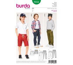 Strih Burda 9354 - Detské šortky, nohavice, kapsáče