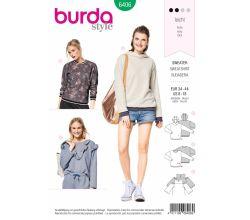 Strih Burda 6406 - Mikina, mikina s kapucňou