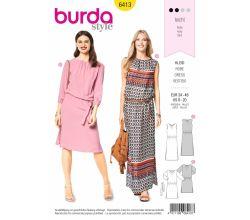 Strih Burda 6413 - Letné šaty, pohodlné šaty, šaty s pásom do gumy