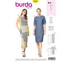 Střih Burda 6418 - Pouzdrové šaty, midi šaty