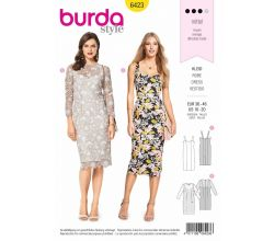 Střih Burda 6423 - Pouzdrové šaty, krajkové šaty, koktejlové šaty