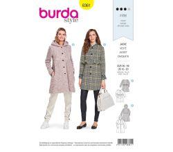 Strih Burda 6361 - Áčkový kabát, kabát s kapucňou, kabát bez goliera