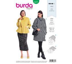 Strih Burda 6372 - Áčkový kabát, kabát s vysokým golierom, krátky kabát