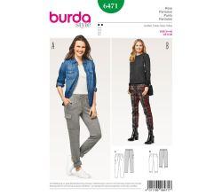 Střih Burda 6471 - Pohodlné kalhoty, sportovní kalhoty, tříčtvrteční kalhoty