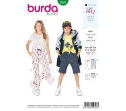 Střih Burda 9324 - Jednoduché dětské teplákové kalhoty, kraťasy