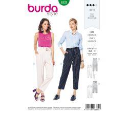 Střih Burda 6332 - Kalhoty s vysokým pasem a puky, cigaretové kalhoty