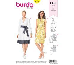 Střih Burda 6338 - Košilové šaty, zavinovací šaty, letní šaty