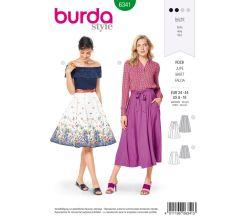 Strih Burda 6341 - Kolesové sukňa, kruhová sukne, široká sukňa, dlhá sukňa