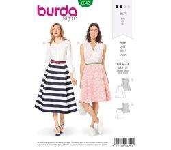 Strih Burda 6342 - Kolesové sukňa, kruhová sukne, midi sukňa