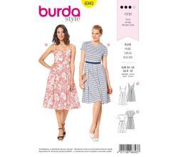 Strih Burda 6343 - Letné šaty, áčkové šaty, šaty s kolovou sukňou