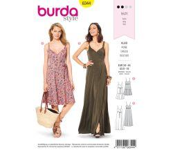 Strih Burda 6344 - Letné šaty na ramienka, dlhé šaty