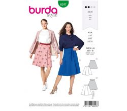 Strih Burda 6247 - Sukne sa sklady, áčková sukne