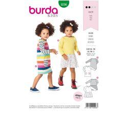 Strih Burda 9296 - Detské tričkové šaty