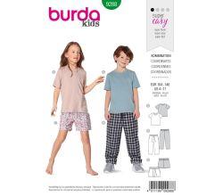 Strih Burda 9288 - Detské tričko, nohavice s gumou v páse, šortky