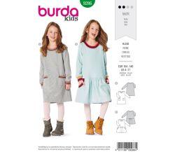Střih Burda 9286 - Dětské mikinové šaty