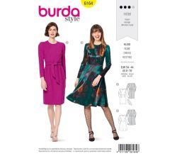 Strih Burda 6164 - Šaty s dlhým rukávom