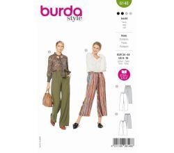 Strih Burda 6148 - Voľné nohavice s gumou v páse, ľanové nohavice