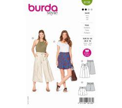 Střih Burda 6138 - Culottes, šortky s vysokým pasem