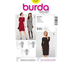 Strih Burda 7137 - Puzdrové šaty, šaty s golierom