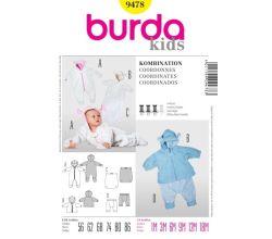 Střih Burda 9478 - Dětská kombinéza, bunda s kapucí, kalhoty, zateplovací návlek