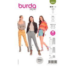 Strih Burda 6054 - Nohavice s gumou v páse, teplákové nohavice, šortky