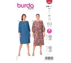 Strih Burda 6058 - Šaty pre plnoštíhle