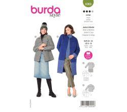 Strih Burda 6069 - Kabát bez goliera s farebnými blokmi, sako