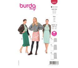 Strih Burda 6073 - Rovná sukňa s gumou v páse
