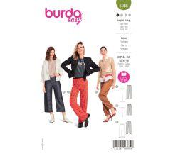 Strih Burda 6085 - Rovné nohavice s gumou v páse
