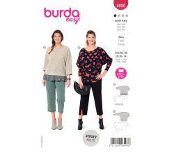 Strih Burda 6098 - Voľné tričko so 3/4 rukávom pre plnoštíhle