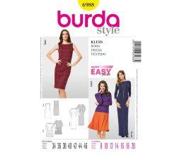 Strih Burda 6988 - Jednoduché rovné šaty, plesové šaty