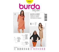Strih Burda 7031 - Áčkové šaty, krajkové šaty s podšívkou, tričko