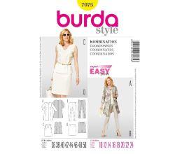 Strih Burda 7075 - Tielko, kabátik, rovná sukne, nohavice