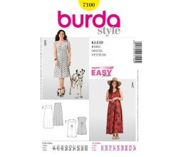 Střih Burda 7100 - Volné tričkové šaty pro plnoštíhlé