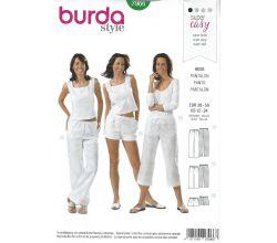 Střih Burda 7966 - Dámské kalhoty a šortky