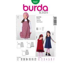 Střih Burda 9447 - Dětské áčkové šaty, balonové šaty