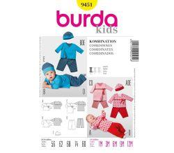 Střih Burda 9451 - Dětské zavinovací tričko, kalhoty, čepice