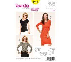 Strih Burda 6910 - Tričko, jednoduché žerzejové šaty