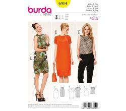Střih Burda 6914 - Balonové šaty, top
