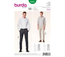 Strih Burda 6933 - Pánske nohavice, nohavice s pukmi