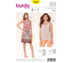 Střih Burda 6969 - Tílkové šaty na ramínka, tílko
