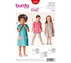 Střih Burda 9438 - Dětské jednoduché šaty