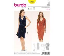 Střih Burda 6829 - Zavinovací šaty, žerzejové šaty, koktejlové šaty