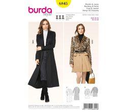 Strih Burda 6845 - Áčkový kabát, dlhý kabát