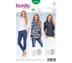 Strih Burda 6849 - Košele, džínsová košeľa