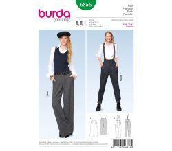 Střih Burda 6856 - Široké kalhoty Marlene, kalhoty s vysokým pasem, kalhoty s kšandami